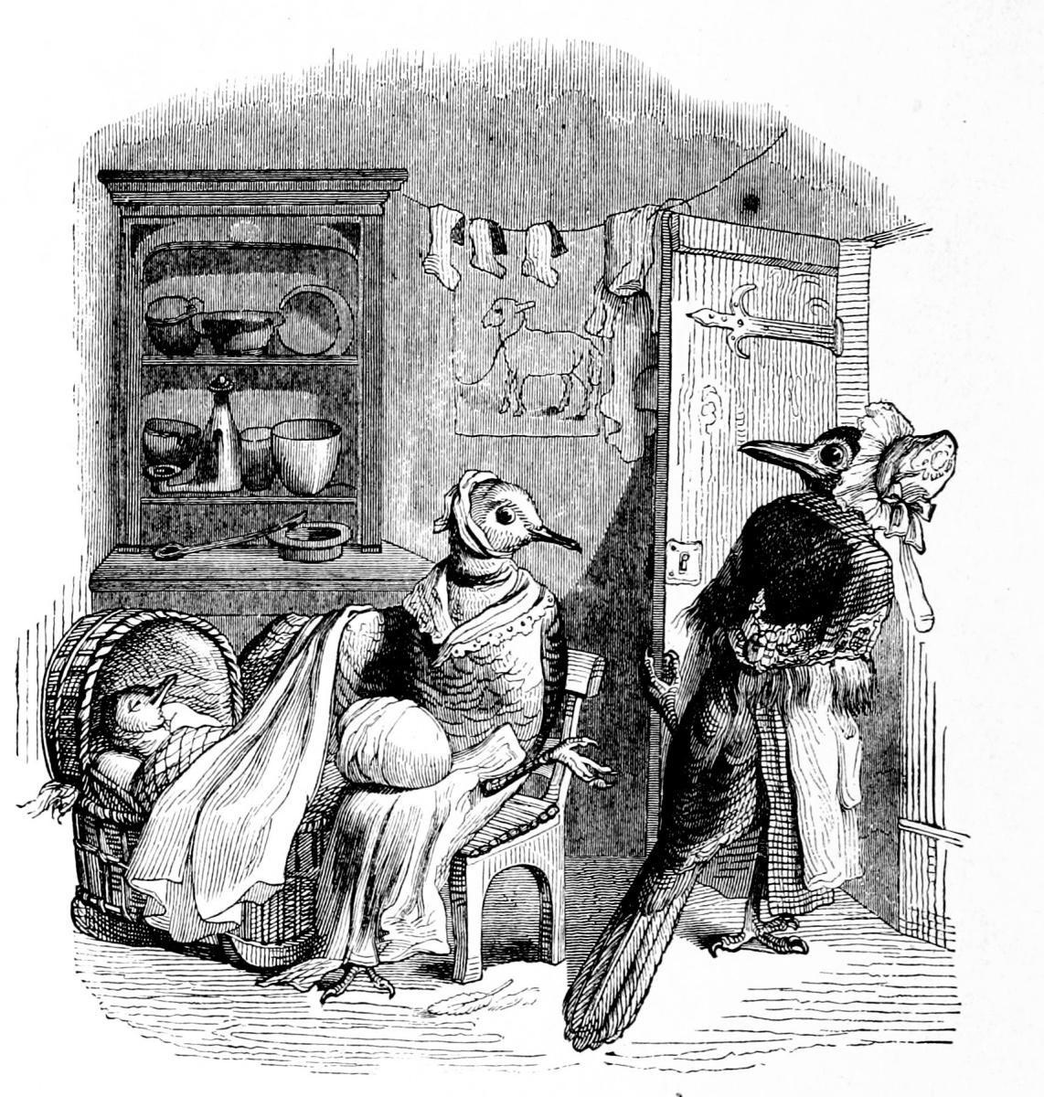 Жан Иньяс Изидор (Жерар) Гранвиль. Голубка и Сорока. Иллюстрации к басням Флориана