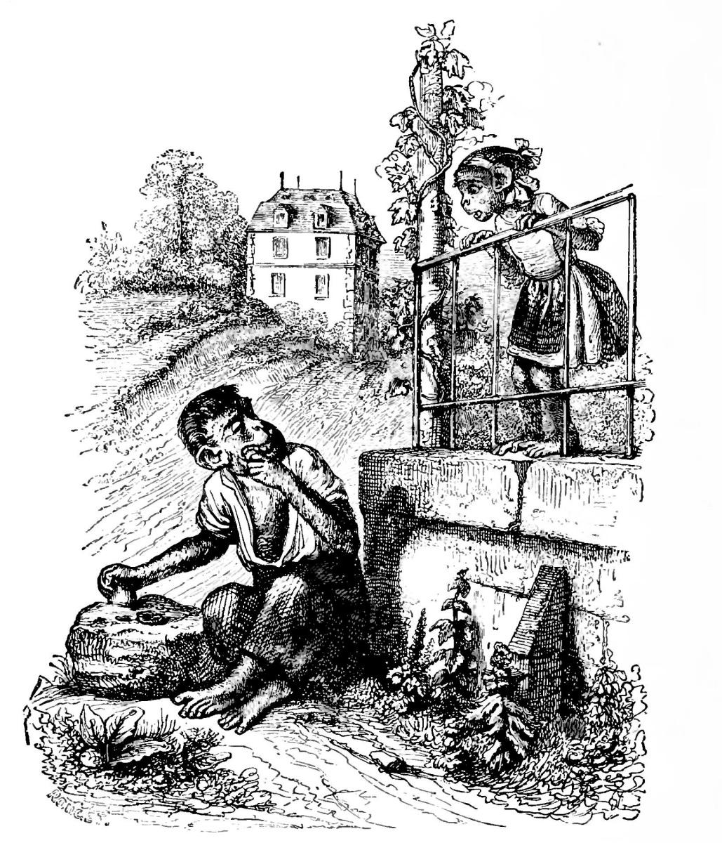 Жан Иньяс Изидор (Жерар) Гранвиль. Мартышка-кривляка. Иллюстрации к басням Флориана