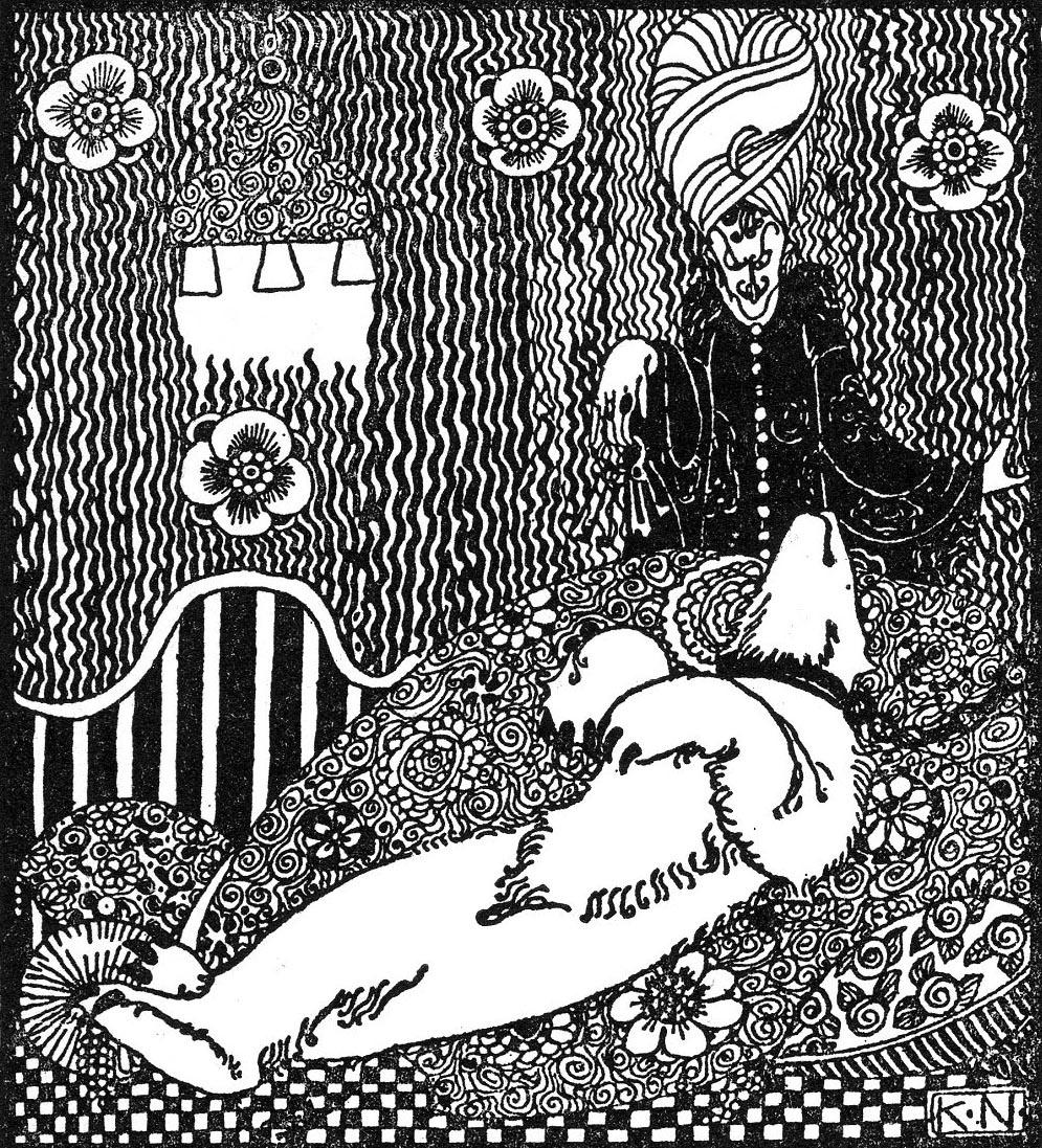 "Кей Нильсен. Синий пояс. Иллюстрация к сборнику сказок ""На восток от солнца, на запад от луны"""