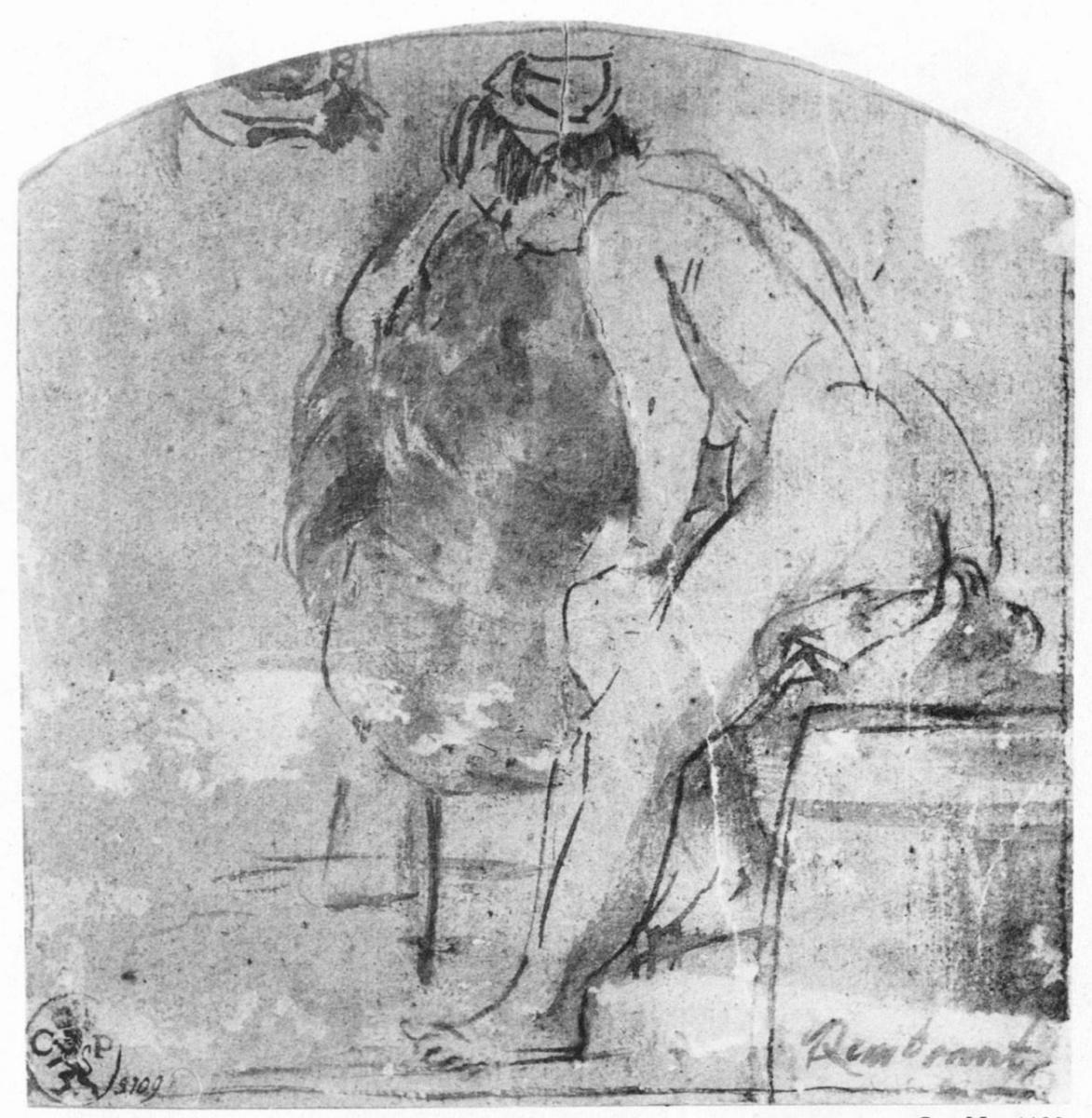 Рембрандт Ван Рейн. Обнаженная натурщица, в профиль