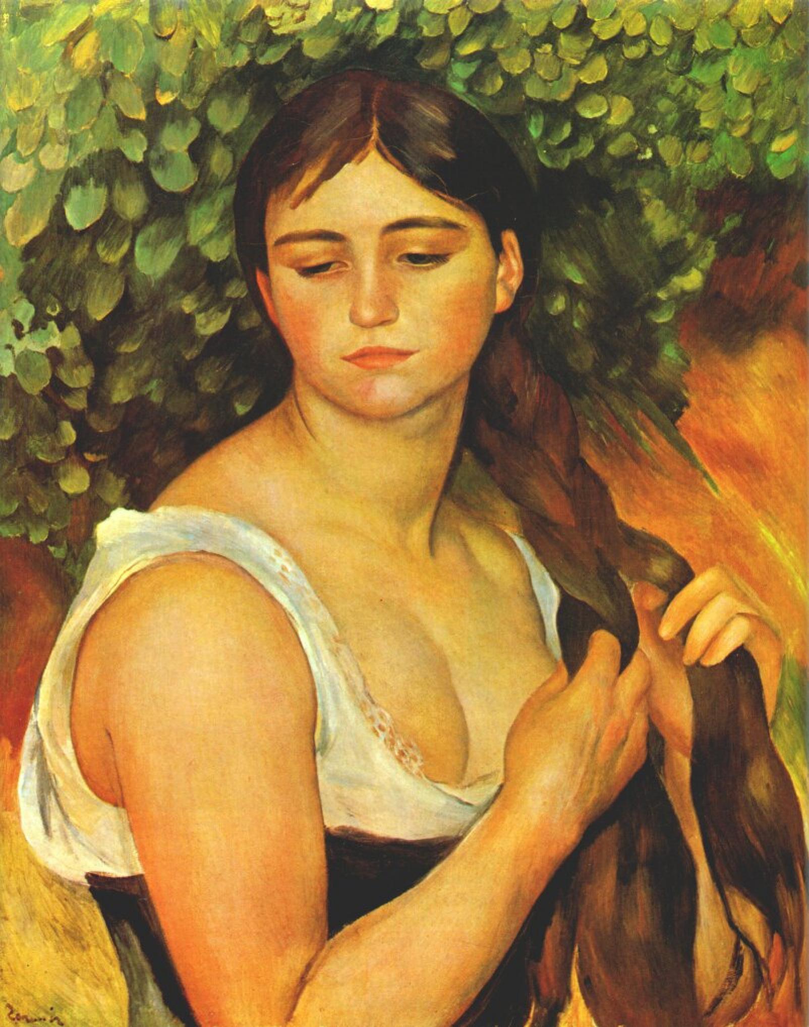 Pierre-Auguste Renoir. Girl zaplatila hair (Suzanne Valadon)