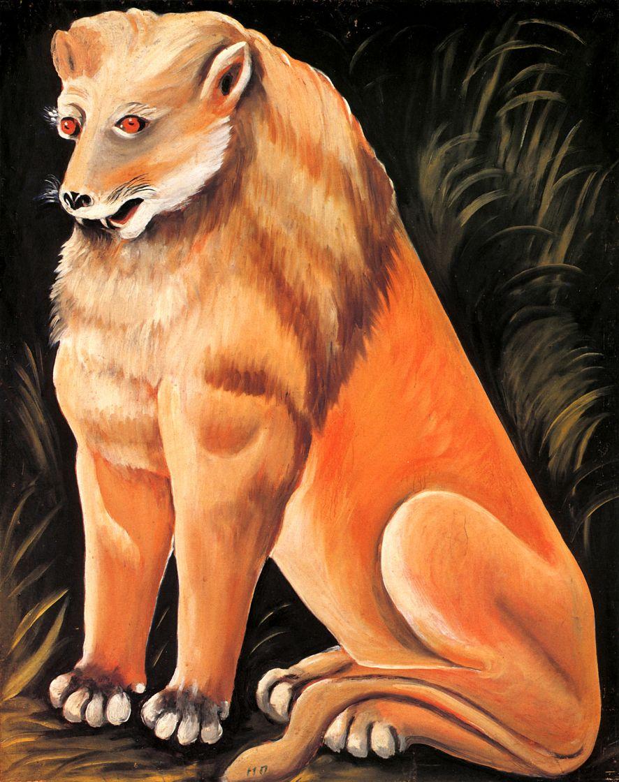 Нико Пиросмани (Пиросманашвили). Сидящий желтый лев