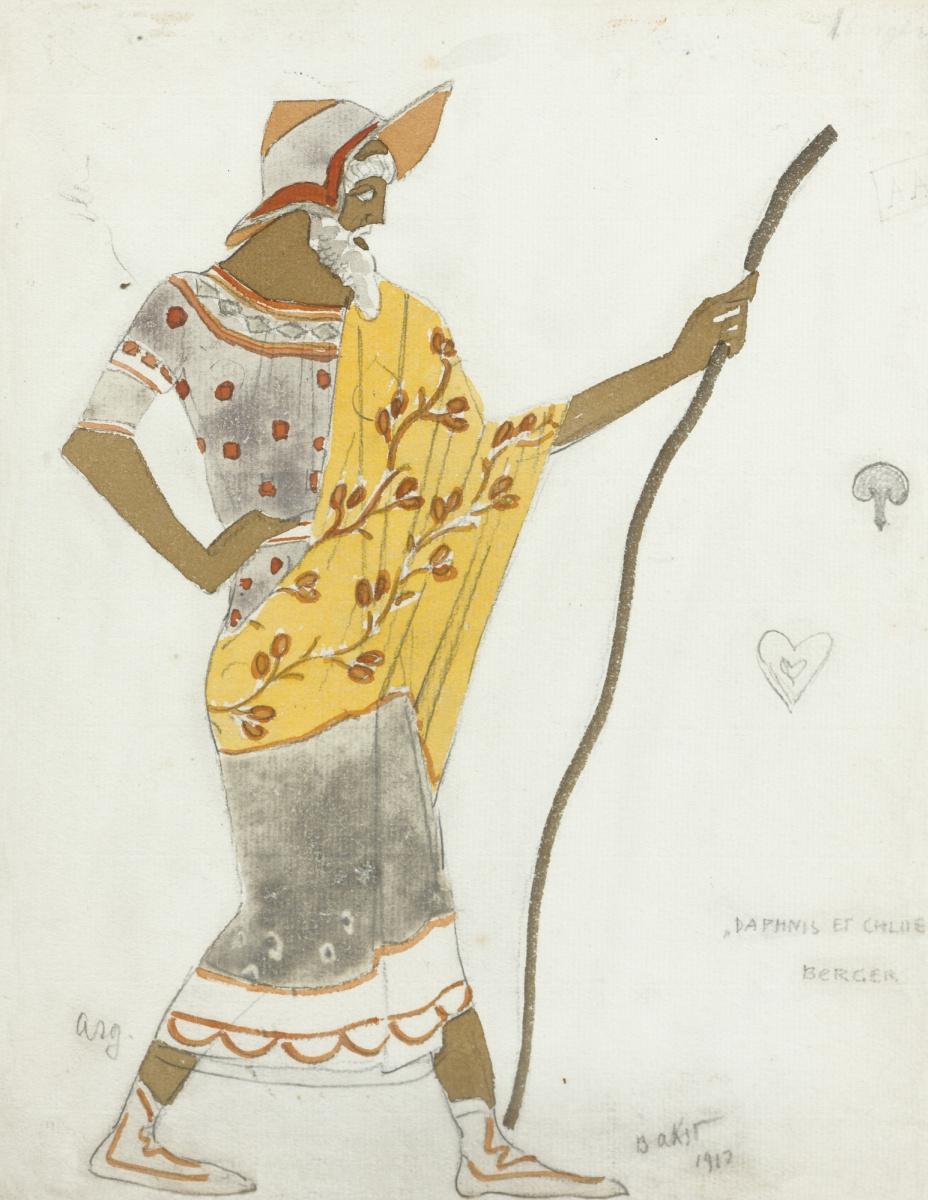 """Lev Samoilovich Bakst (Leon Bakst). Shepherd. Costume design for the ballet """"Daphnis and Chloe"""""""