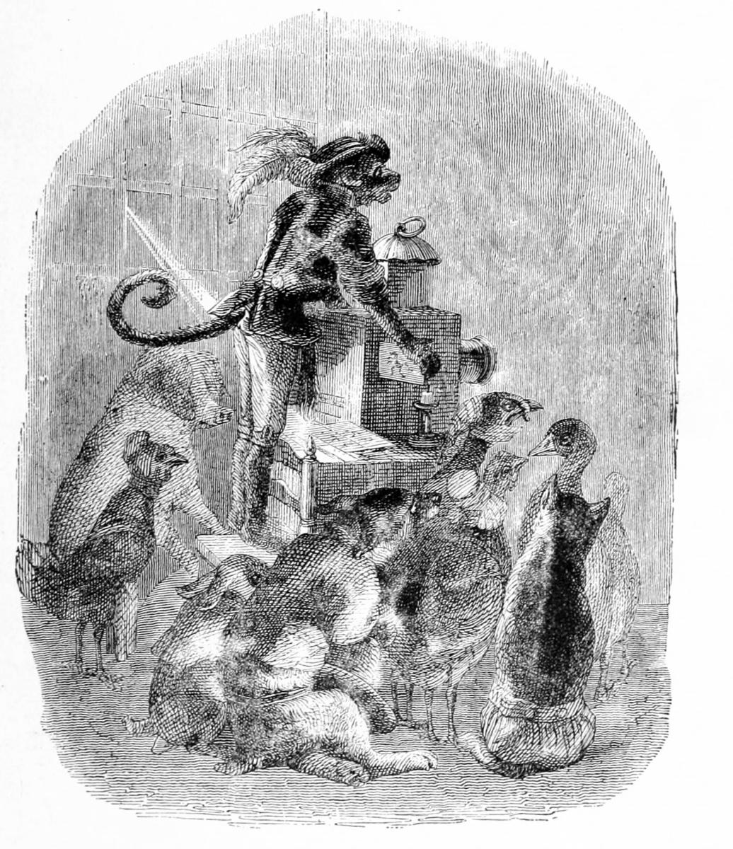 Жан Иньяс Изидор (Жерар) Гранвиль. Мартышка и волшебный фонарь. Иллюстрации к басням Флориана