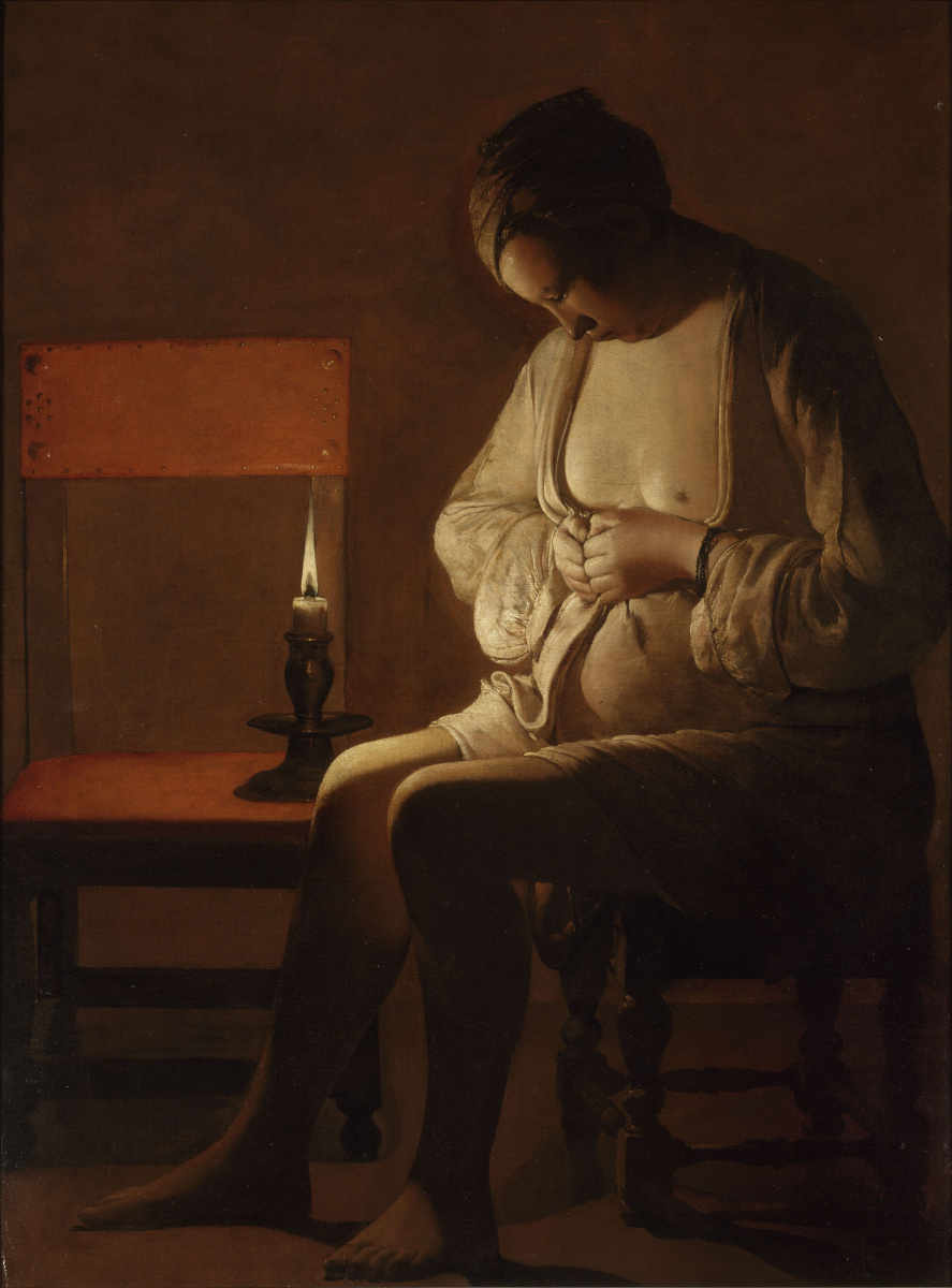 Жорж де Латур. Женщина, ловящая блоху