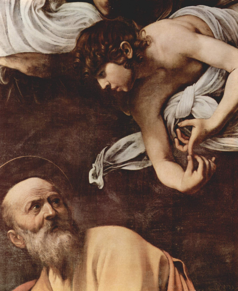 Michelangelo Merisi de Caravaggio. Saint Matthew and the angel. Fragment