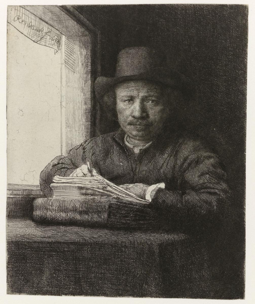 Рембрандт Харменс ван Рейн. Автопортрет Рембрандта, рисующего у окна