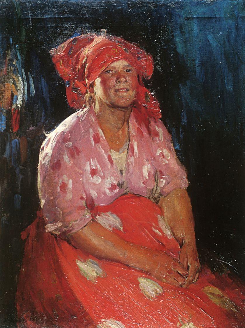 Абрам Ефимович Архипов. Крестьянка в розовом