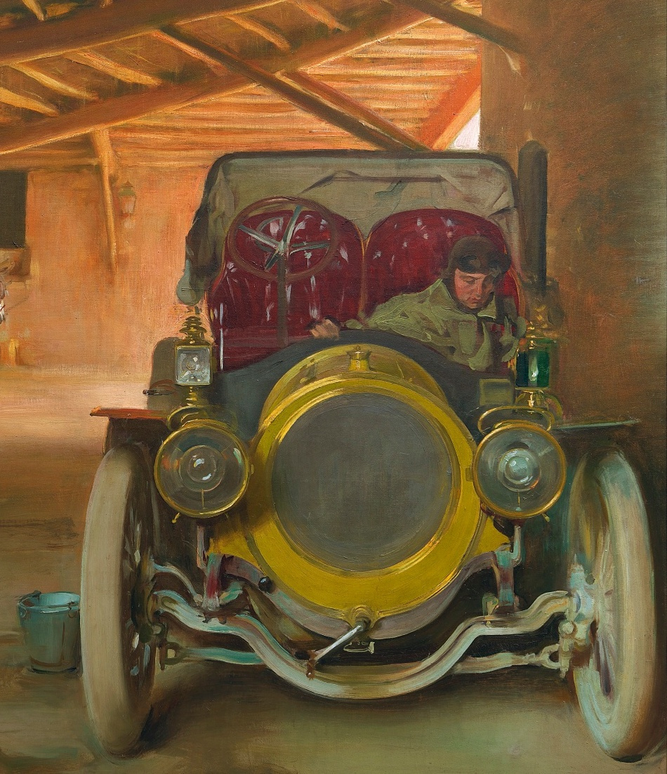 Рамон Касас Карбо. Испанский гараж. Фрагмент. Автомобиль
