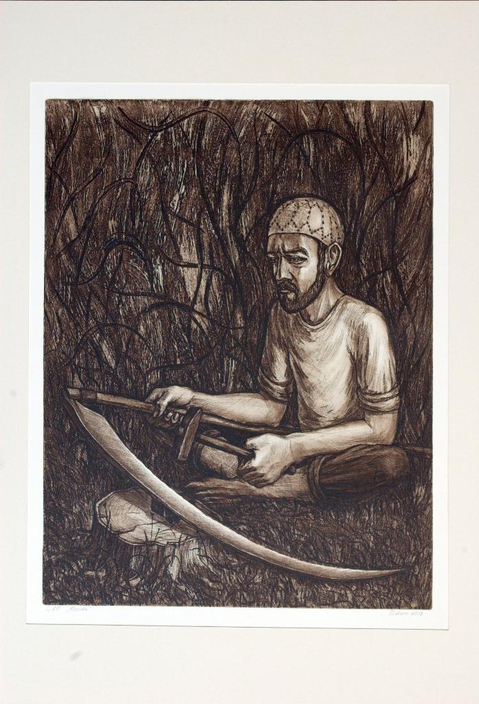 "Ildar Ganiev. MOWER. 2013. FROM THE SERIES ""BUDNY"". Etching"