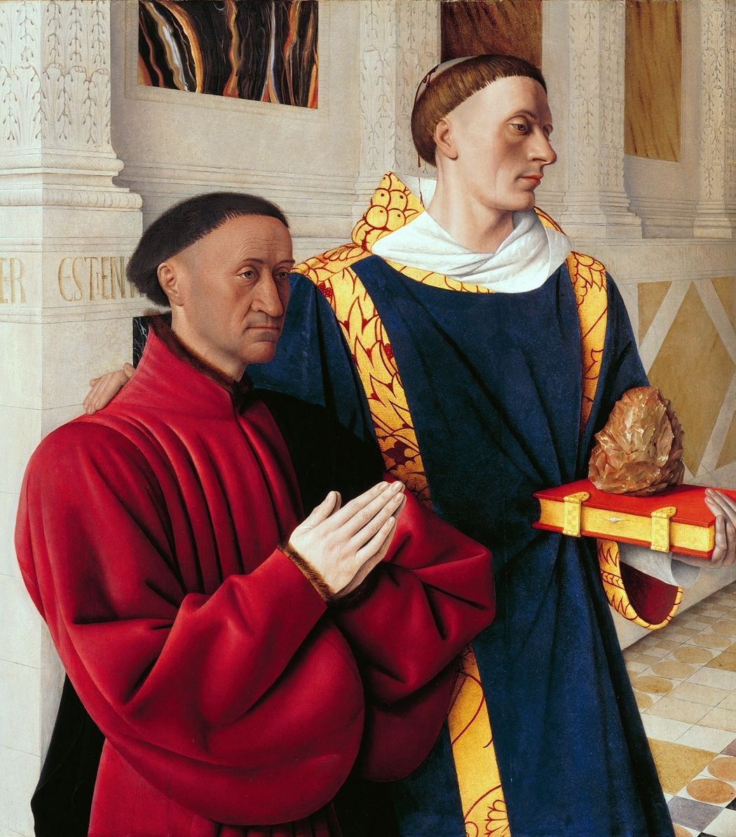 Jean Fouquet. Etienne Chevalier and St. Stefan. Left wing of a diptych Melensky