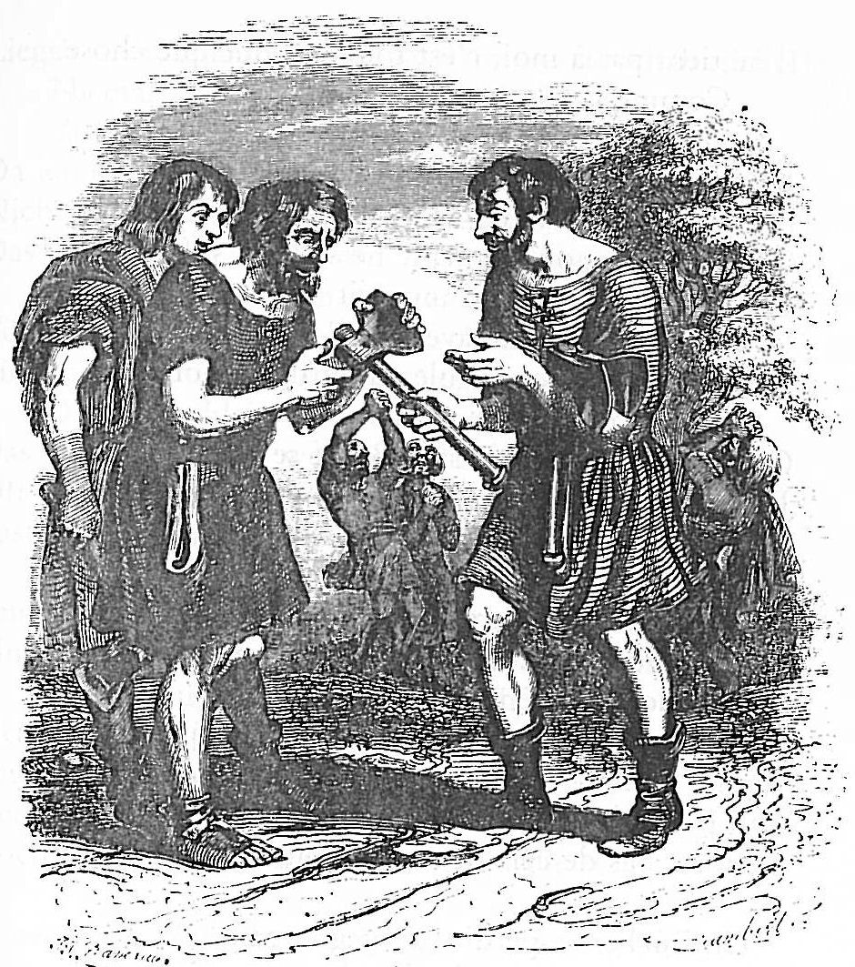 Jean Inias Isidore (Gerard) Granville. Lumberjack and Mercury. Illustrations to the fables of Jean de Lafontaine
