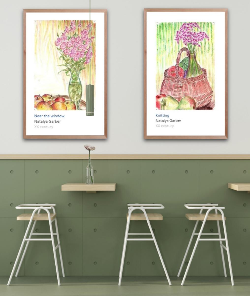Natalya Garber. Apples. Pair of still lifes for a cafe