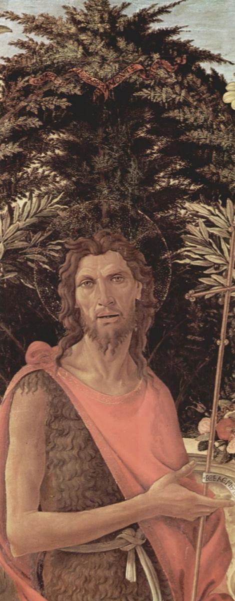 Сандро Боттичелли. Алтарь Барди, Мадонна на троне, Иоанн Креститель и Иоанн Евангелист, деталь: Иоанн Креститель