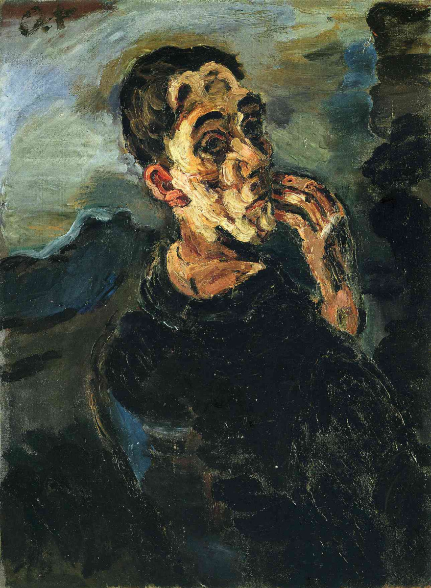 Oskar Kokoschka. Self-Portrait, One Hand Touching the Face