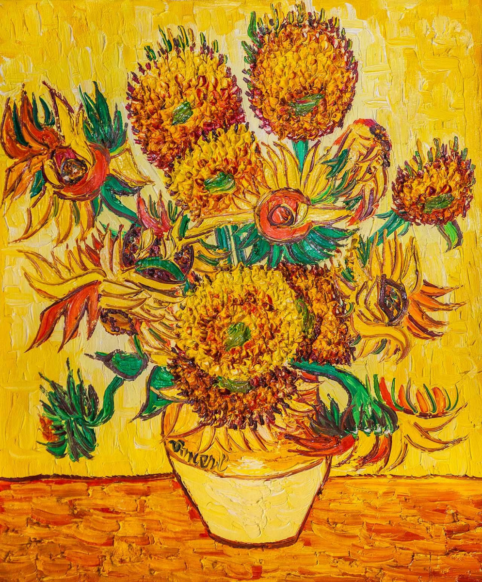 "Andrzej Vlodarczyk. Copy of Van Gogh's painting ""Vase with fifteen sunflowers, 1888"""
