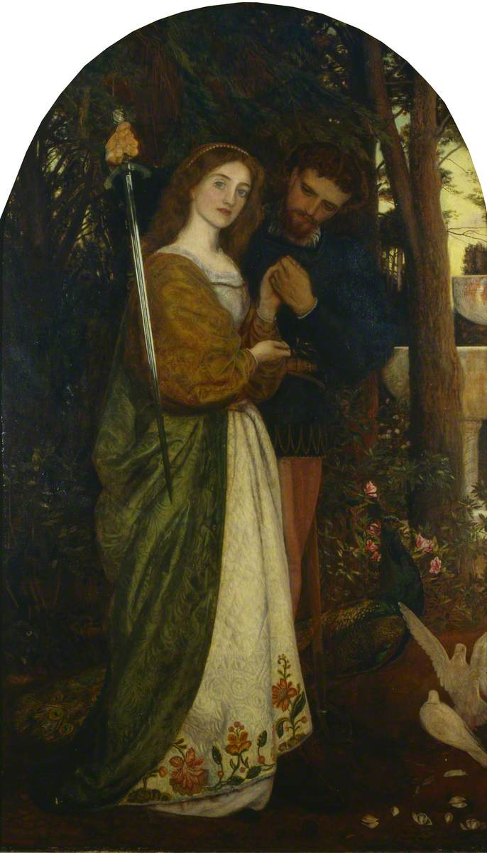 Arthur Hughes. Defender of Honor (In a secluded arbor)