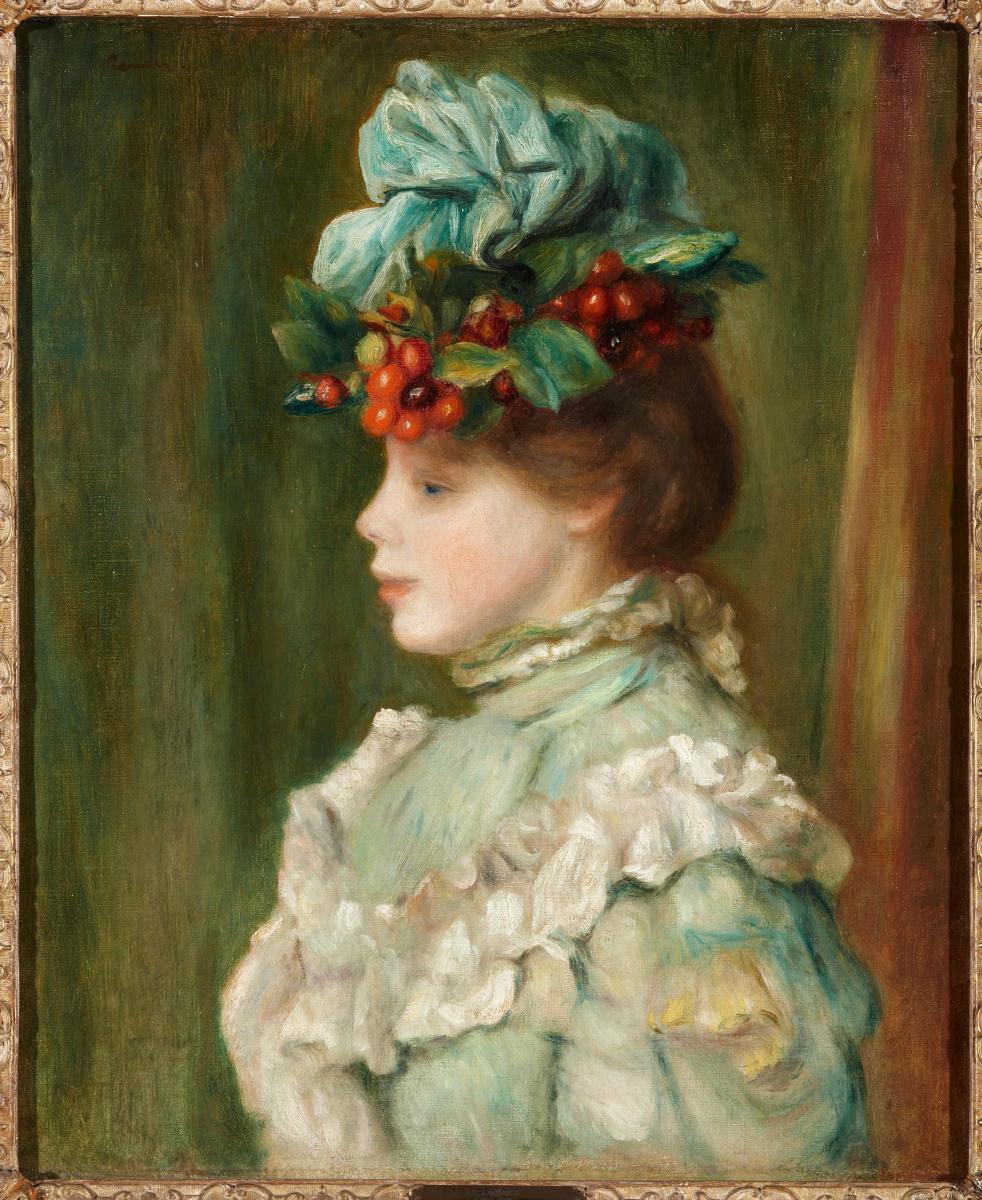 Pierre-Auguste Renoir. Girl in a hat with cherries