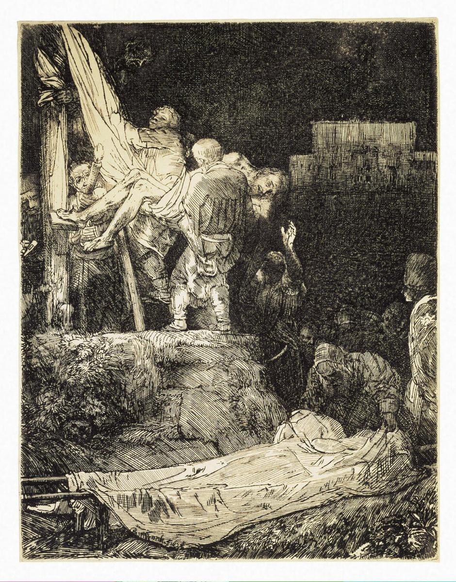 Рембрандт Ван Рейн. Снятие с креста при свете факелов