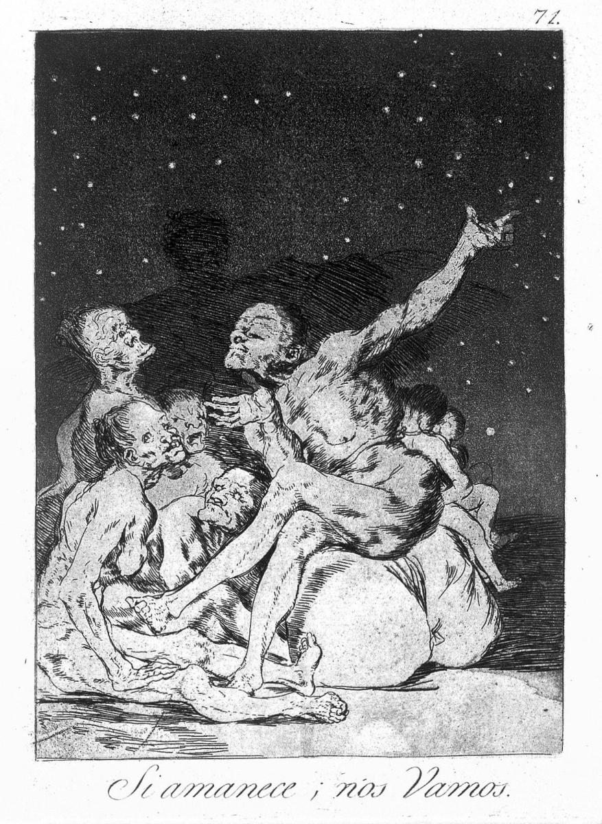 """Франсиско Гойя. """"Когда рассветет, мы уйдем"""" (Серия """"Капричос"""", страница 71)"""
