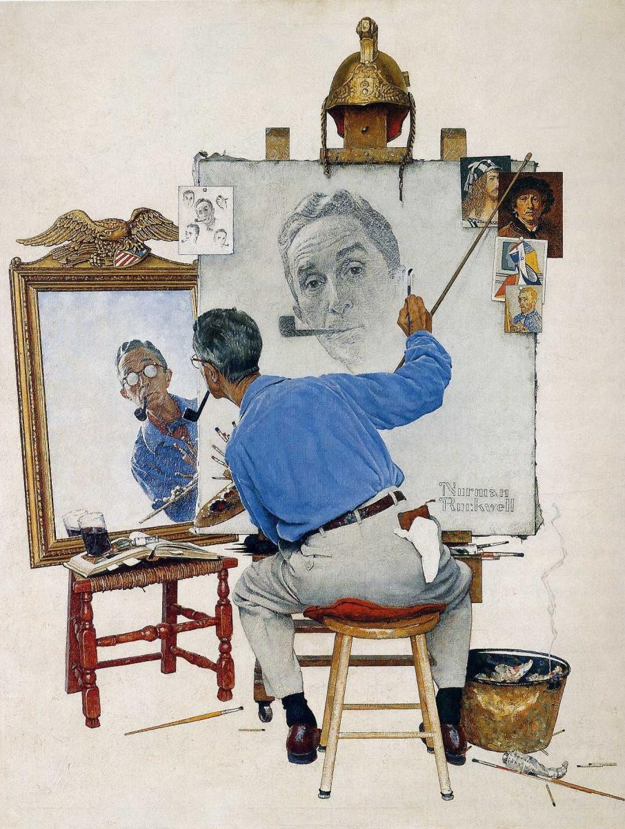 Норман Роквелл. Тройной автопортрет