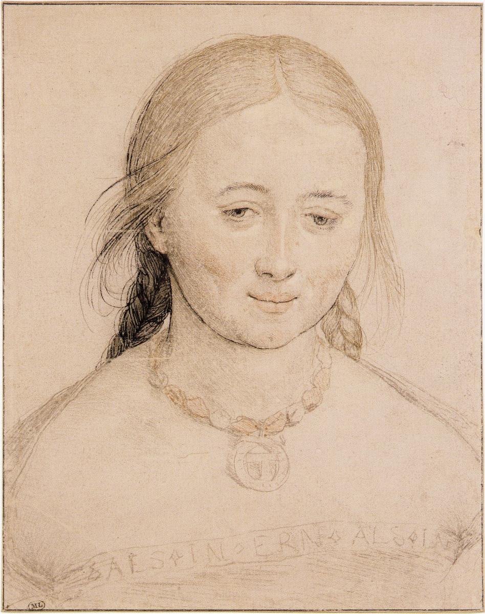 Ганс Гольбейн Младший. Голова улыбающейся молодой женщины