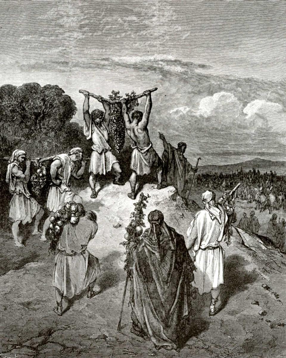 Поль Гюстав Доре. Иллюстрация к Библии: возвращение соглядатаев из Ханаана