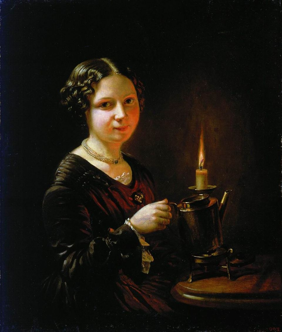 A girl with a candle by Vasily Andreevich Tropinin: History ... for Girl With Candle Painting  174mzq
