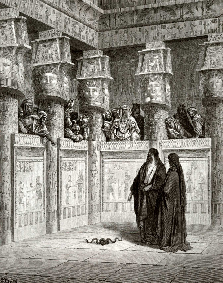 Поль Гюстав Доре. Иллюстрация к Библии: Моисей и Аарон перед фараоном