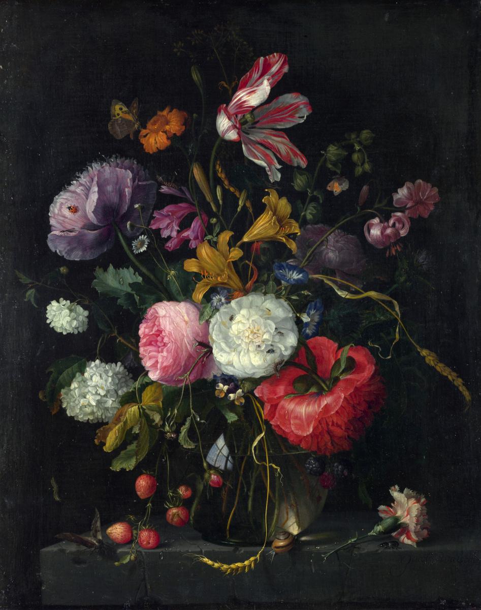 Якоб ван Валскапелл. Цветы в стеклянной вазе