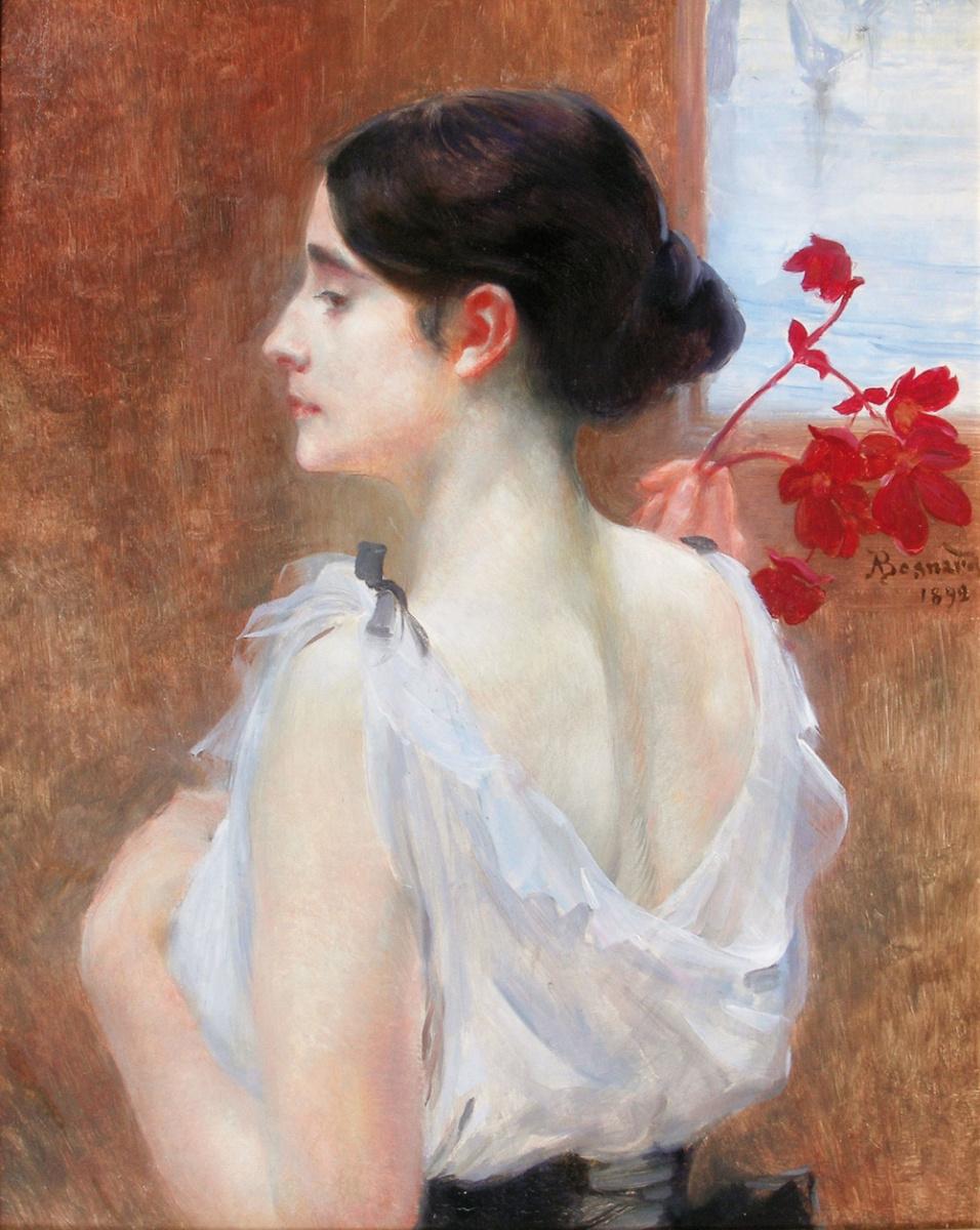 Поль Альберт Бенар. Молодая женщина с цветущей ветвью.