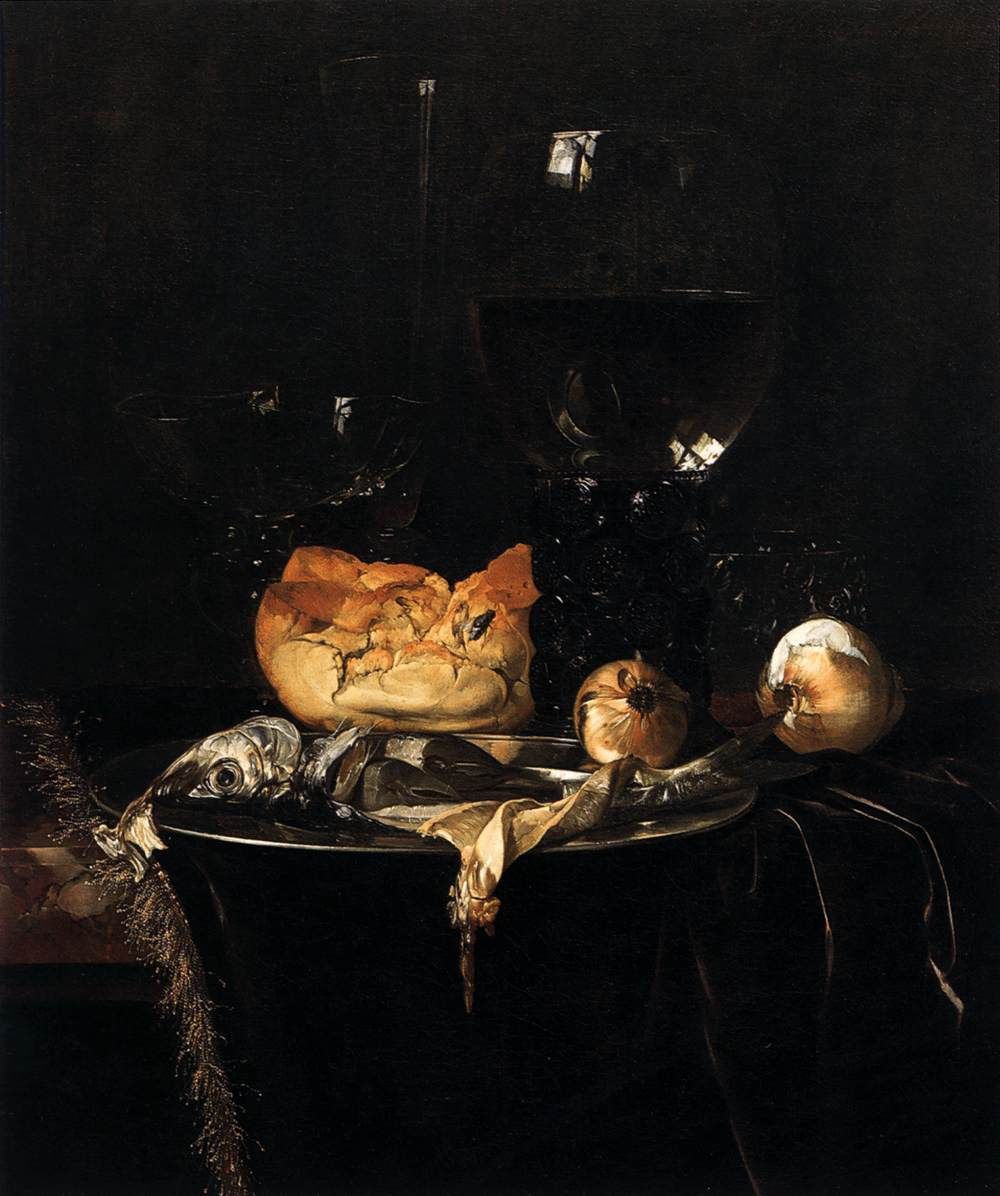Willem van Aelst. Still life with onions and bread