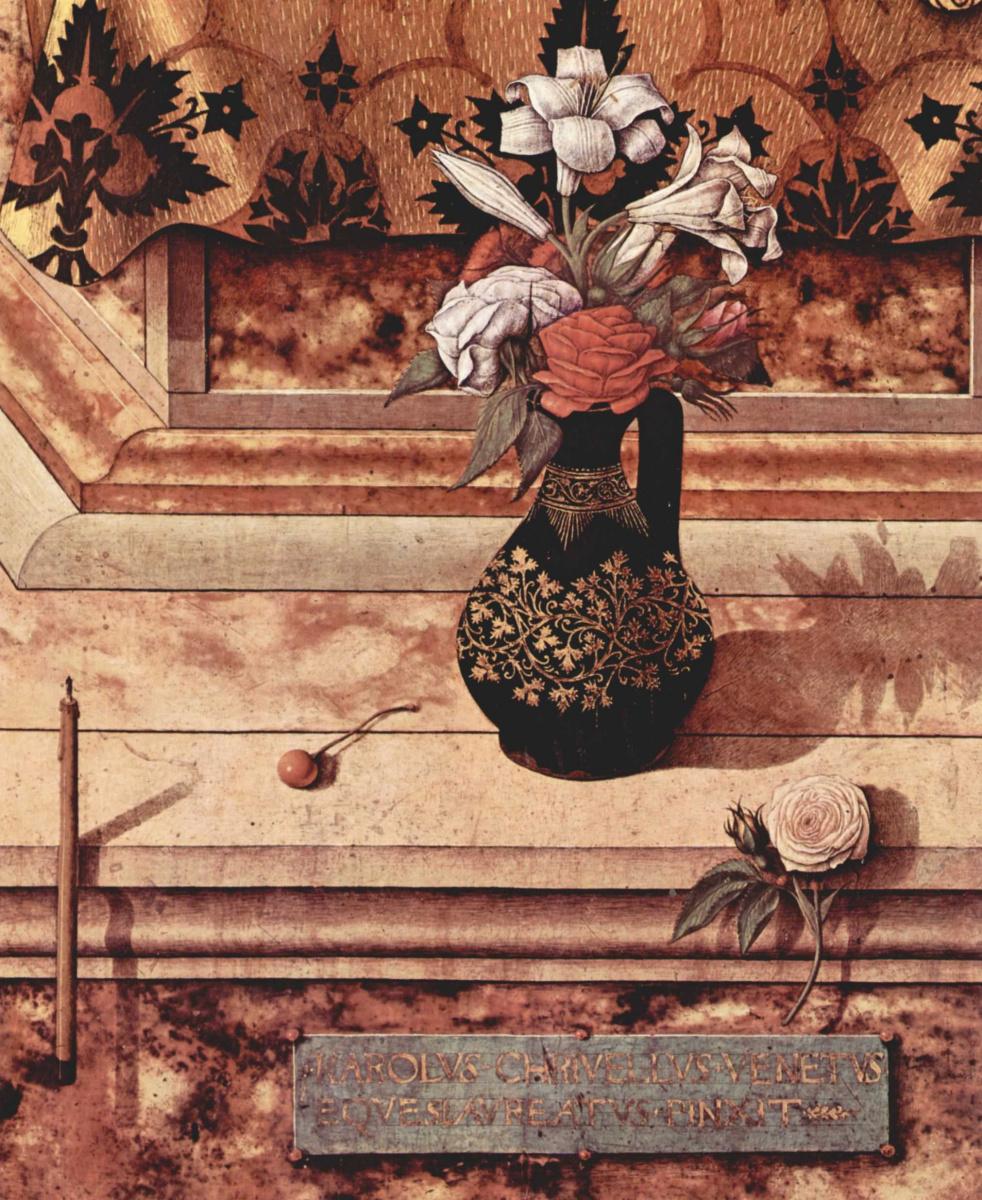 Карло Кривелли. Мадонна делла Канделетта. Алтарь из кафедрального собора в Камерино. Фрагмент: погасшая свеча у подножья трона