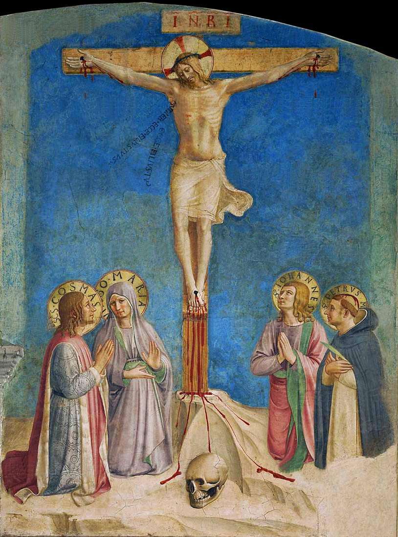 Fra Beato Angelico. Crucifixion of Christ with saint Mary, skull and saints. Fresco of the Monastery of San Marco, Florence