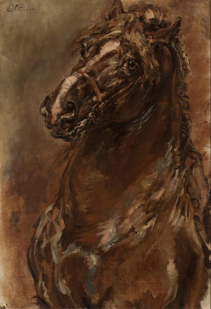"""Ян Матейко. Голова коня. Эскиз для картины """"Орлеанская Дева"""""""