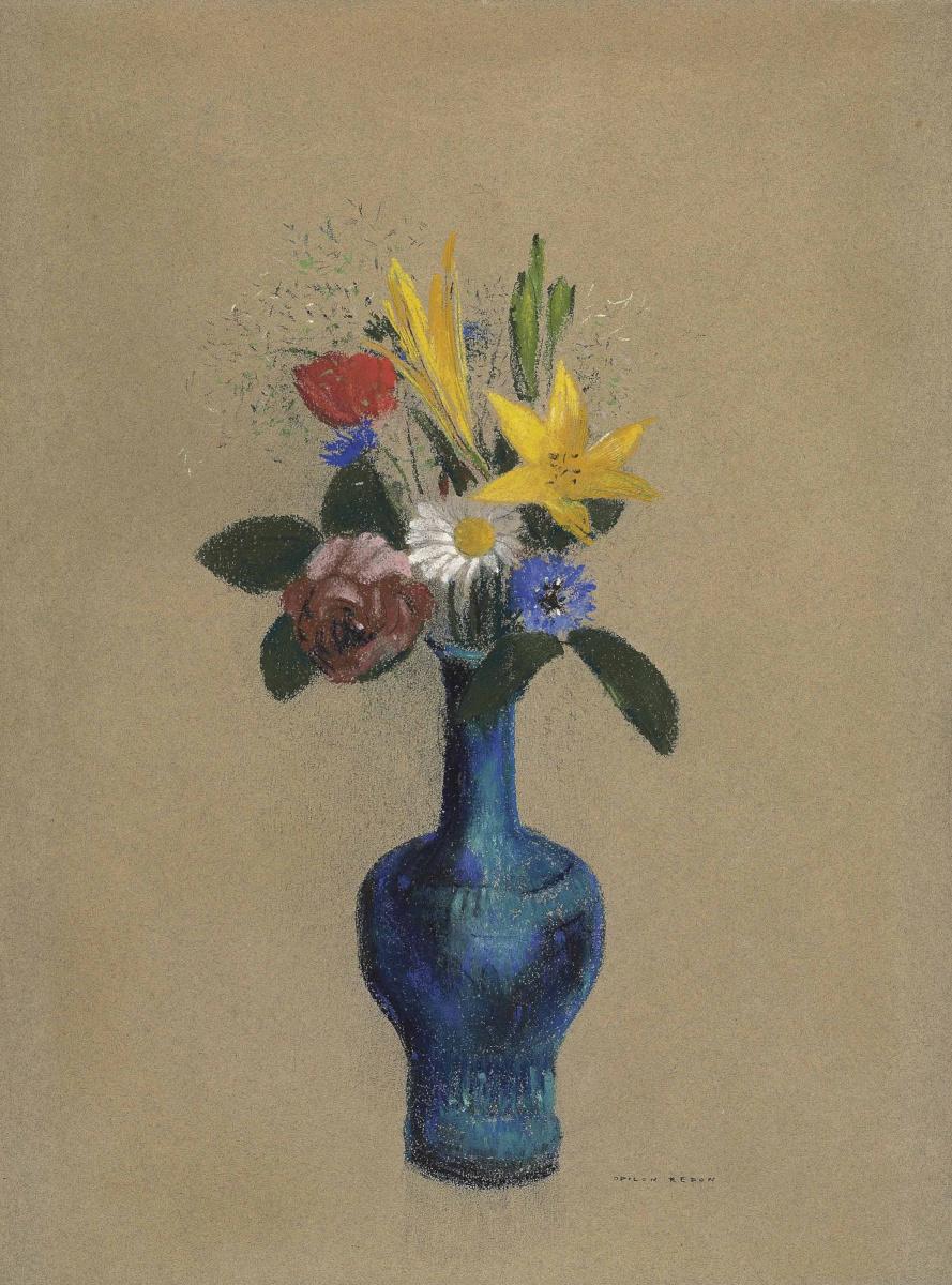 Одилон Редон. Букет цветов в голубой вазе