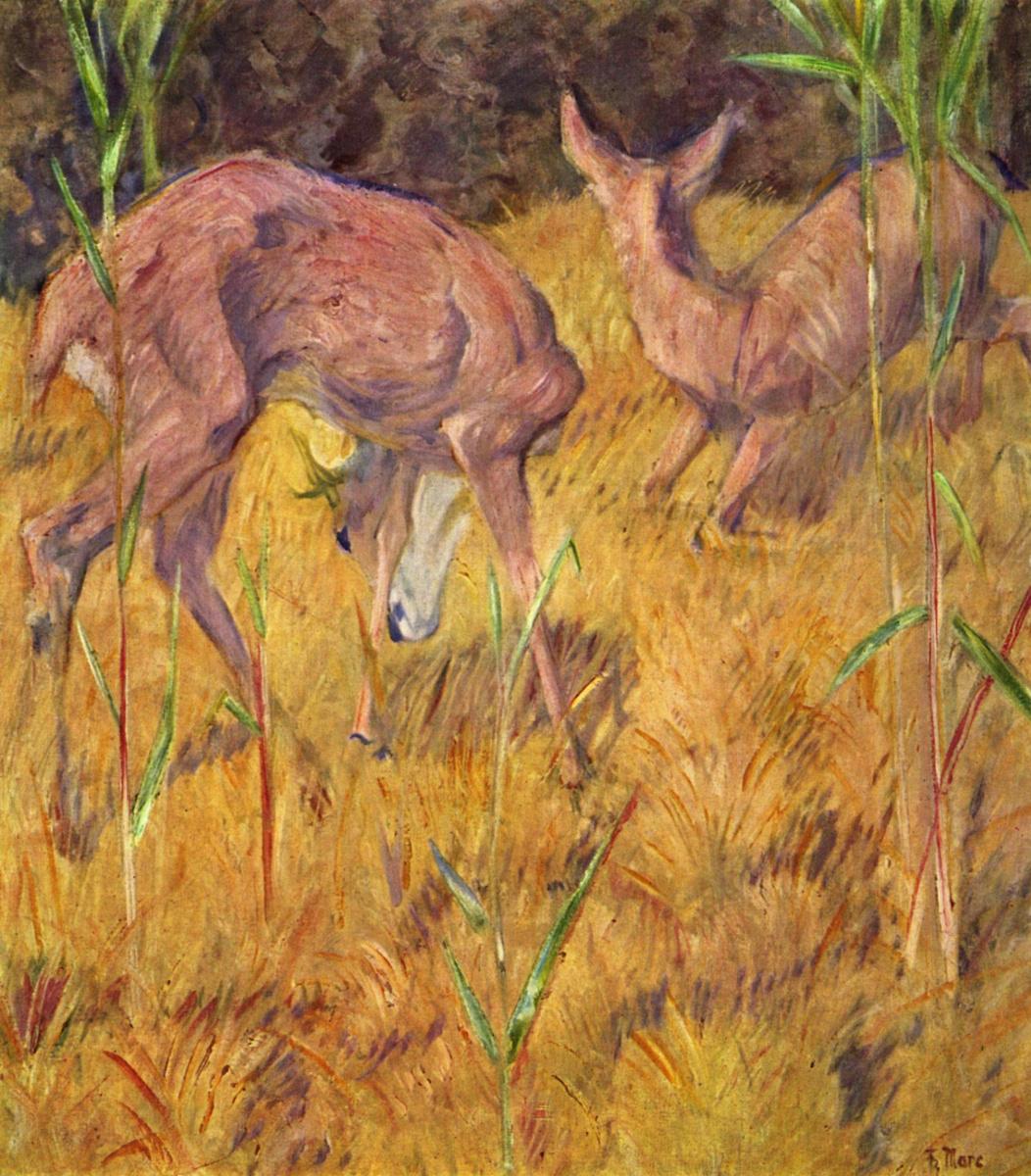 Franz Mark. Deer in the meadow