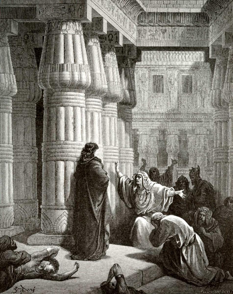 Поль Гюстав Доре. Иллюстрация к Библии: фараон просит Моисея покинуть Египет