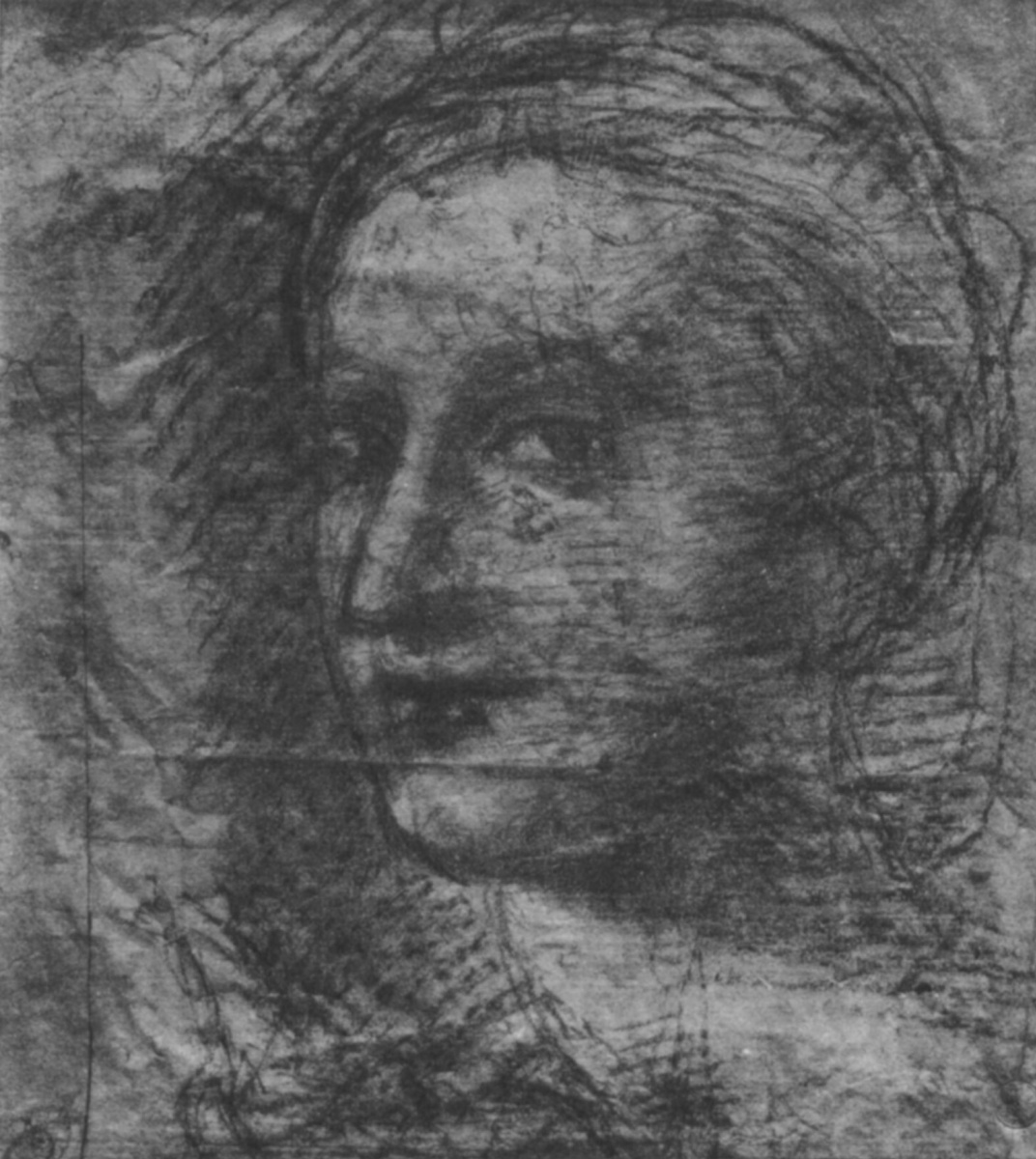 """Raphael Sanzio. A self-portrait. Sketch for the fresco """"the school of Athens"""" of the Palace of the Pope in the Vatican"""