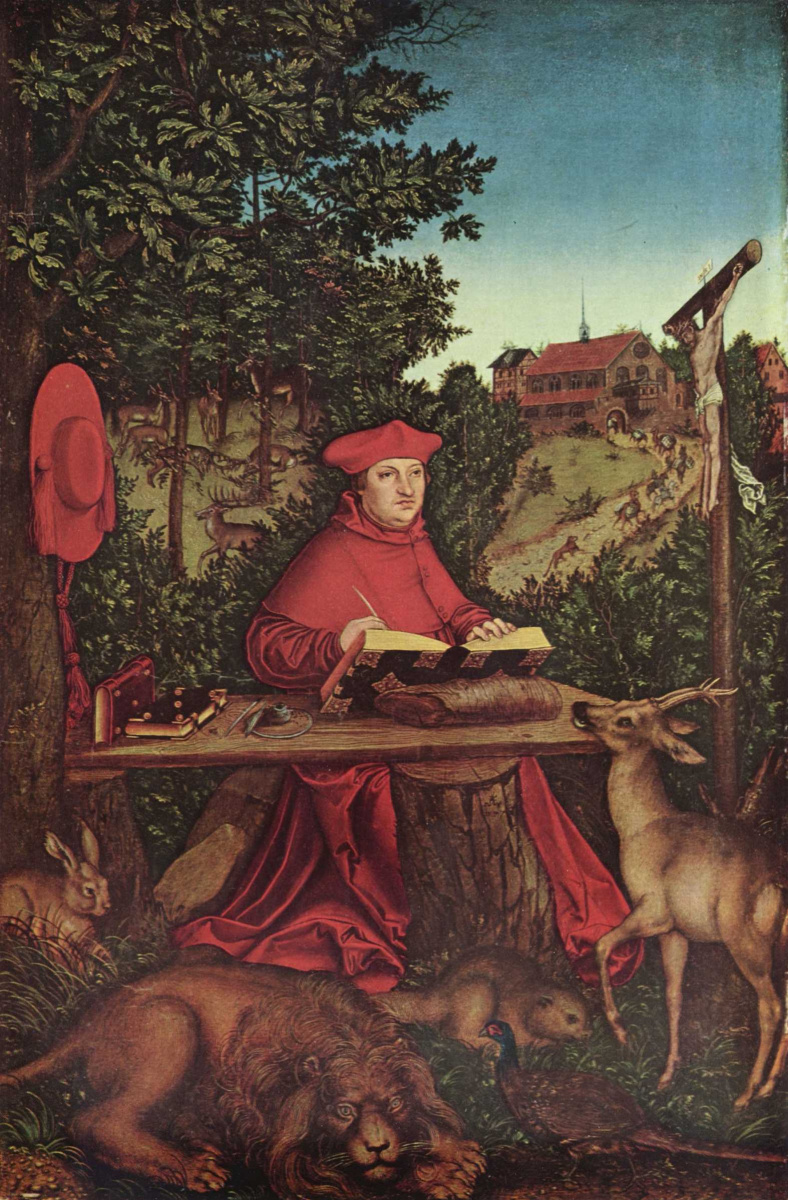 Лукас Кранах Старший. Портрет кардинала Альбрехта Бранденбурского в зелени в виде св. Иеронима