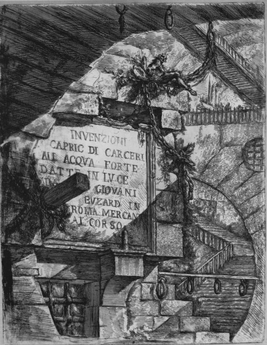 Джованни Баттиста Пиранези. Серия Тюрьмы, Воображаемые композиции на темы тюрем в офорте, первое состояние, фронтиспис