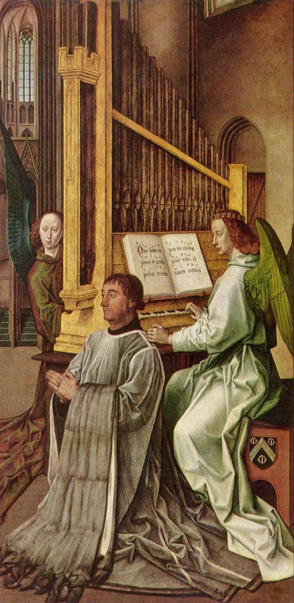 Hugo van der Gus. The kneeling sir Edward Bankel before the angel playing the organ (part of a diptych of the Holy Trinity)