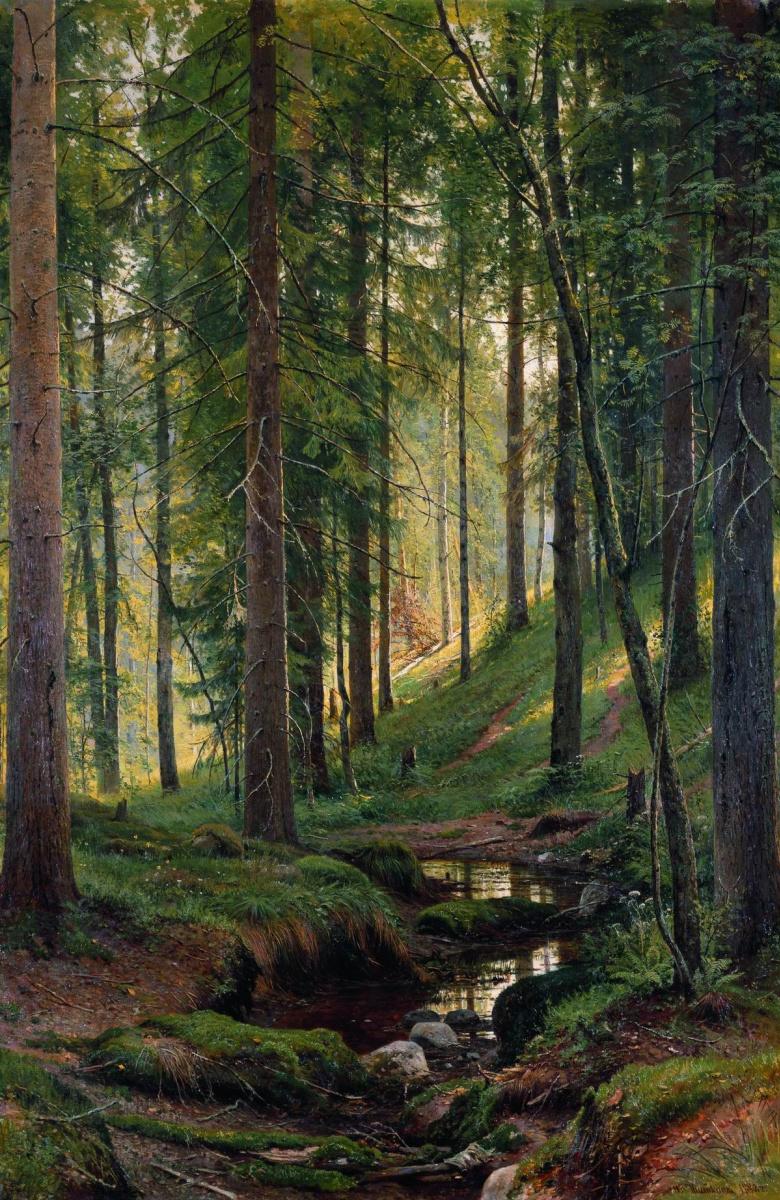 Иван Иванович Шишкин. Ручей в лесу (На косогоре)