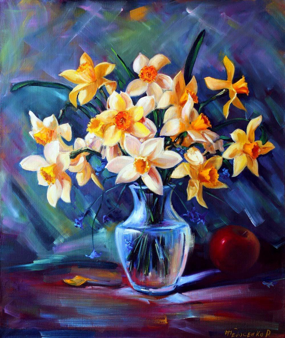 Roman Fedorovich Fedosenko. Daffodils in a glass vase