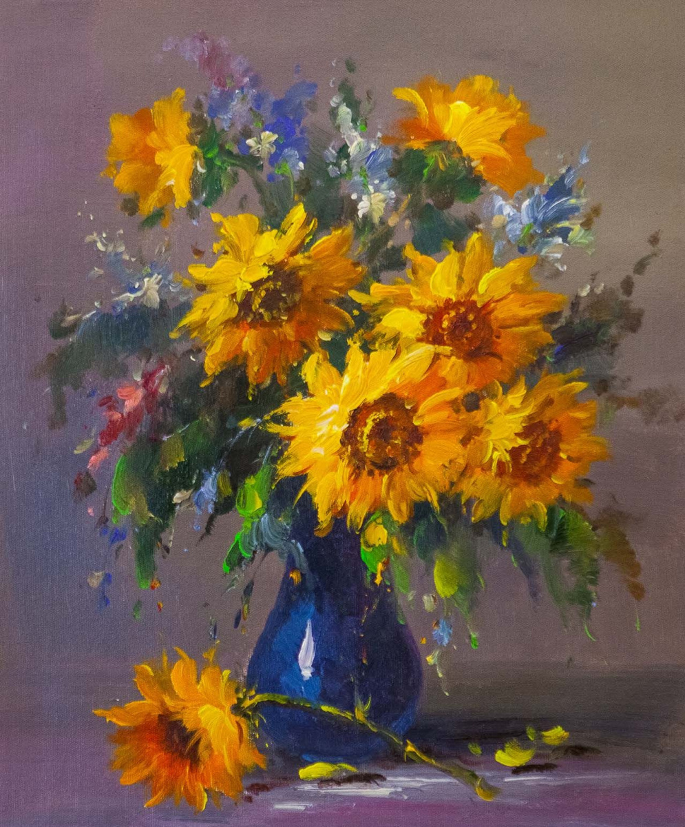 Andrzej Vlodarczyk. Bouquet of sunflowers in a blue vase N2