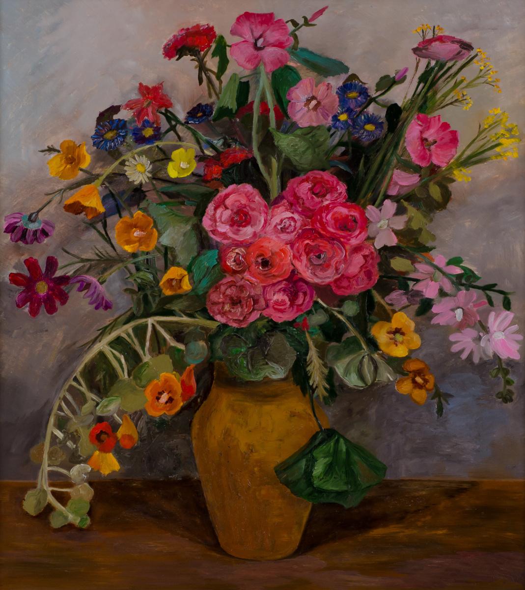 Tatiana Mykolaivna Motherland. Bouquet in a yellow vase