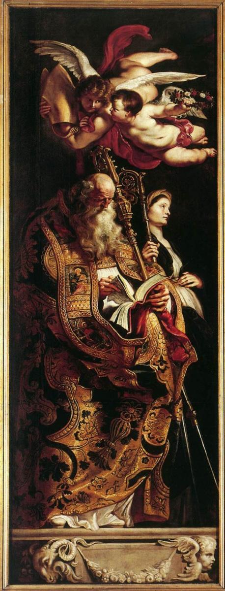 Питер Пауль Рубенс. Воздвижение креста (Фрагмент, Святые Аман и Вальпургиева)