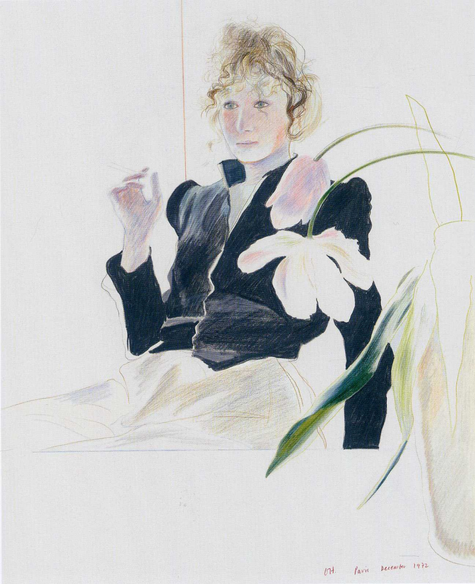 Celia in a black dress with white flowers by david hockney history david hockney celia in a black dress with white flowers mightylinksfo