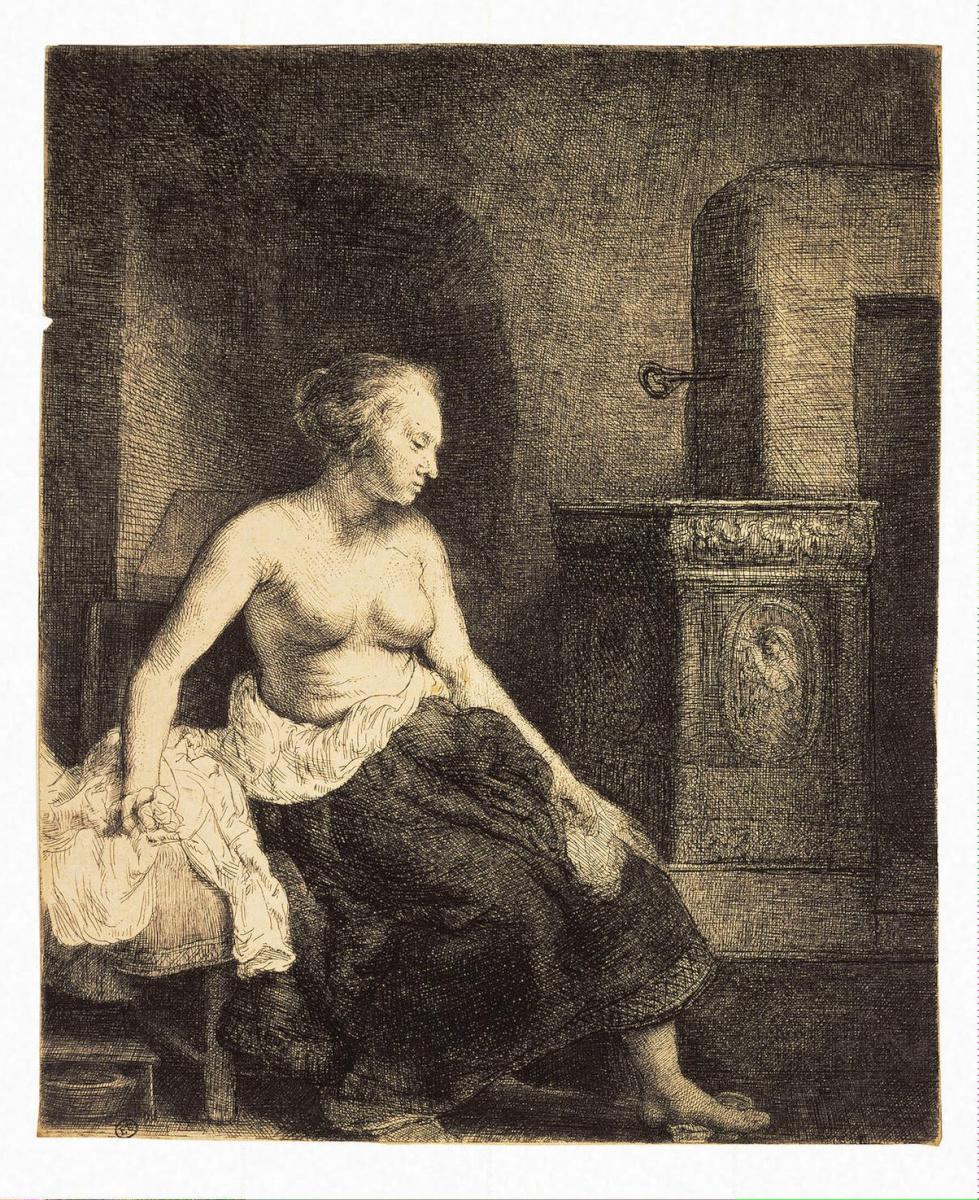 Рембрандт Харменс ван Рейн. Полуобнаженная у печки