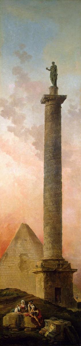 Hubert Robert. Landscape with a triumphal column